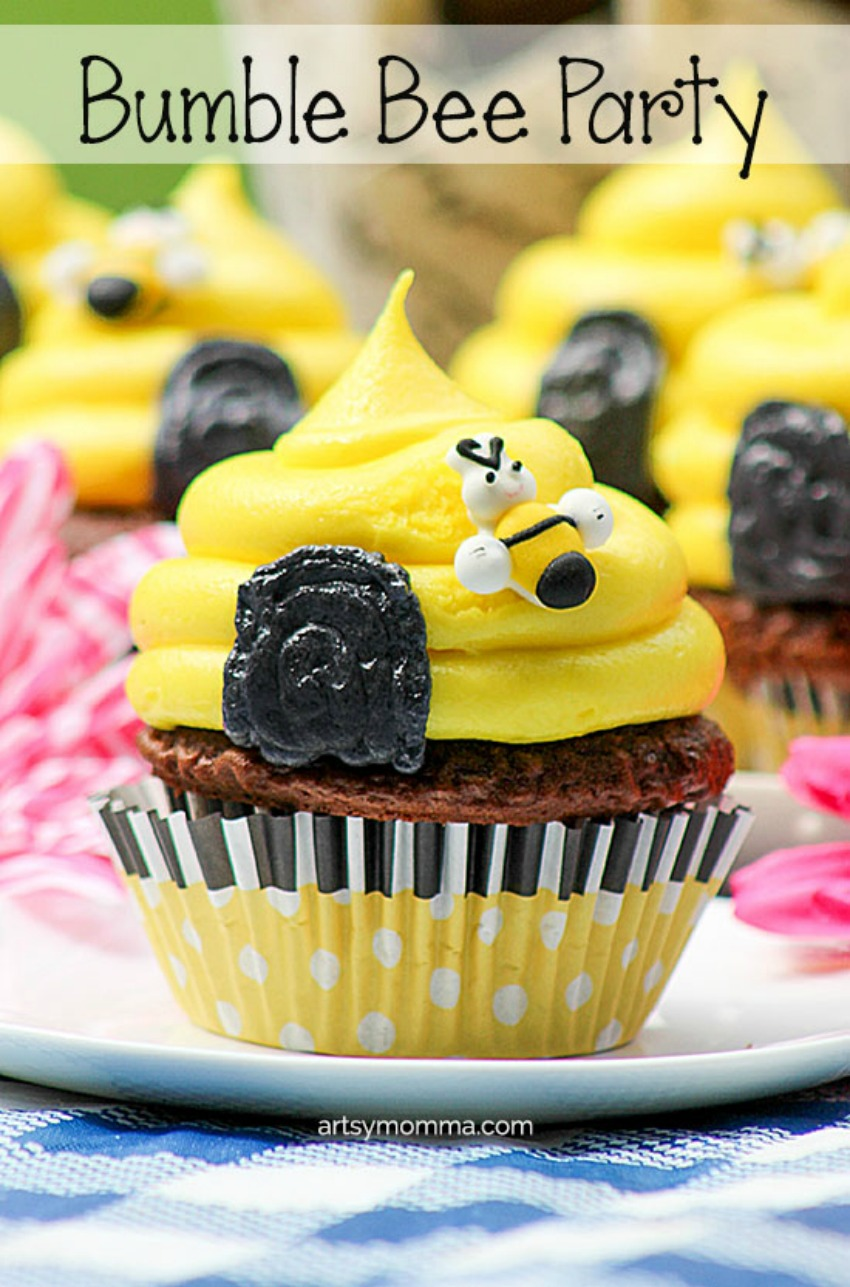 Cute Bumble Bee Birthday Cupcakes