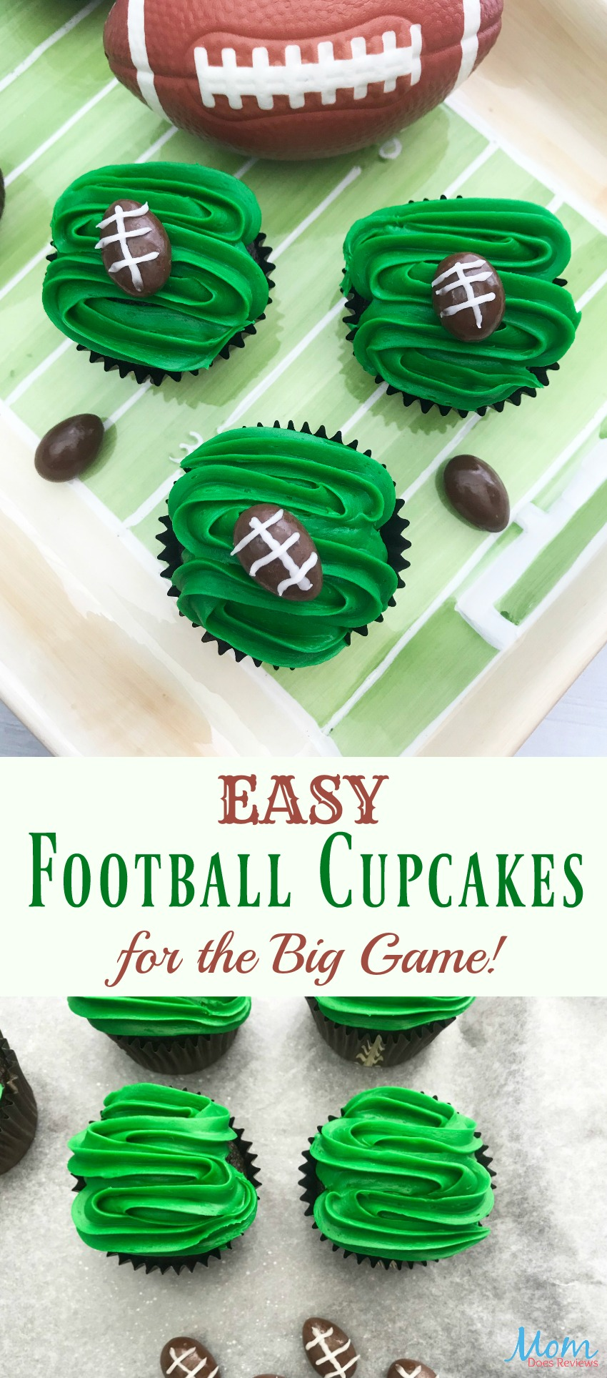 Easy Football Cupcakes for the Big Game #cupcakes #football #sweets #desserts #food #biggame