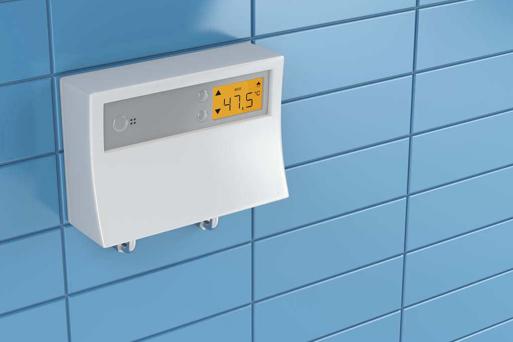 Tankless water heater in bathroom
