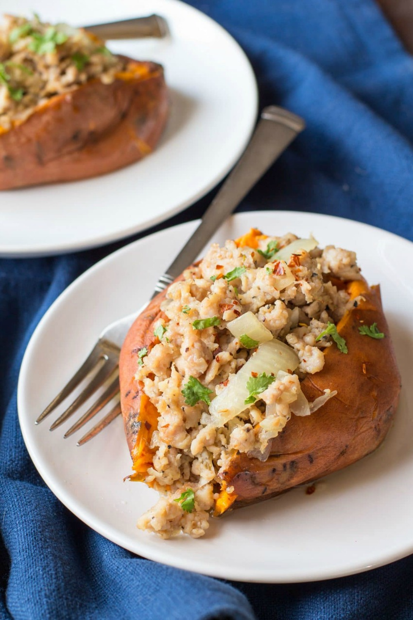 Instant Pot Italian Turkey Stuffed Sweet Potatoes