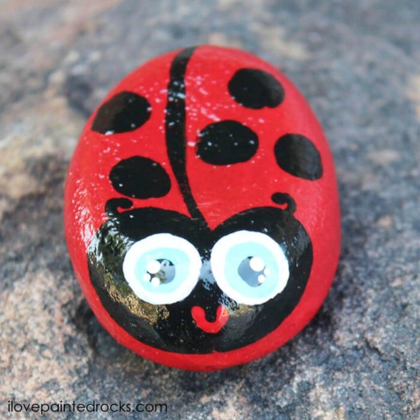 Kawaii Ladybug Painted Rocks